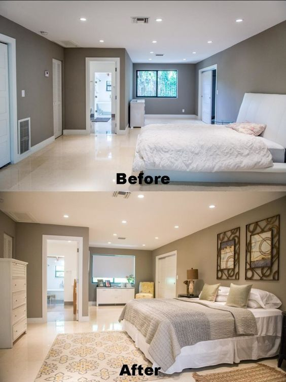 Before and after master bedroom home staging photo