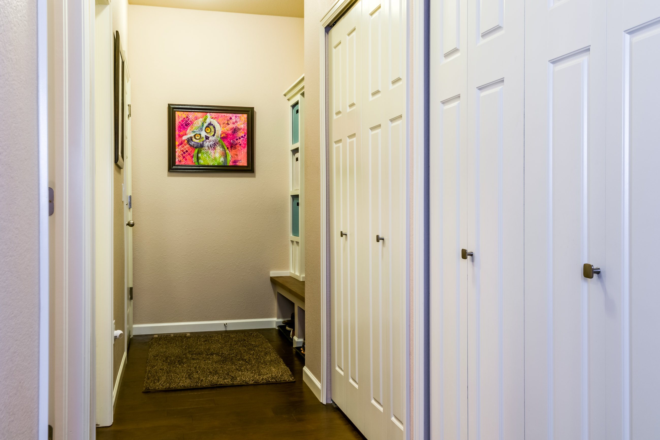Picture of storage closets next to the mud room in 166 Autumn Bell