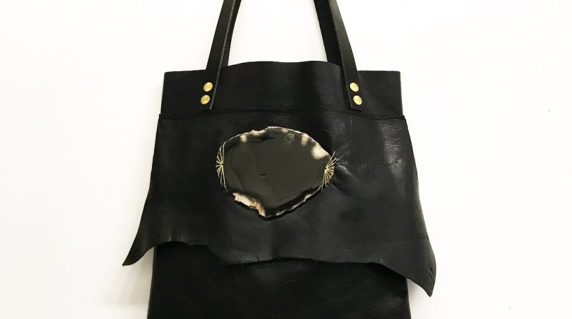 Jay Davis Leather Bag with black polished stone ornament