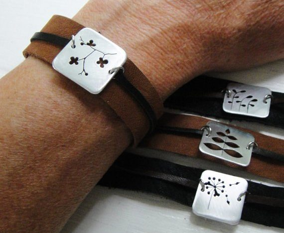 Men's mixed metal and leather bracelets