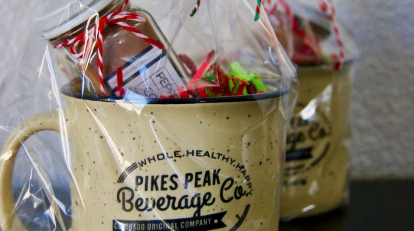 Pikes Peak Beverage Company Mug with gifts inside