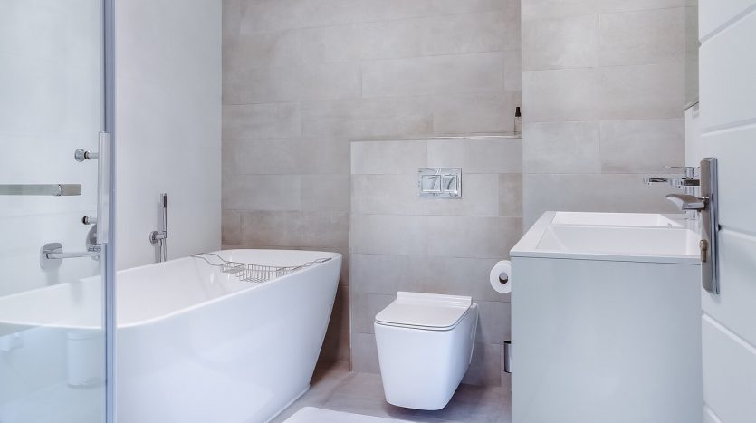 A unique bathroom with a toilet and free standing tub